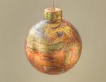 "porcelain Christmas ornament #1 - 3"" in diameter - weighs under 2 ounces (40 gms)"
